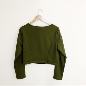 Monif C. Tops - Monif C. Green Long Sleeved Crop Top - Size 1X